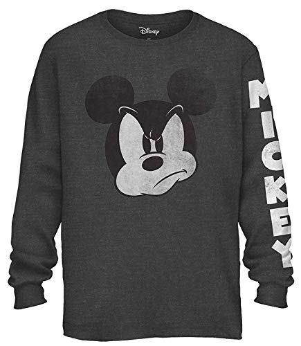 Mad Mickey Mouse Graphic Classic Vintage Disneyland World Men's Adult Long Sleeve T-Shirt (Charcoal Heather, Large)]()