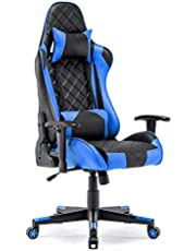 Gaming Chair Racing Office Chair High Back Computer Desk Chair PU Leather Chair Executive and Ergonomic Swivel Chair with Headrest and Lumbar Support