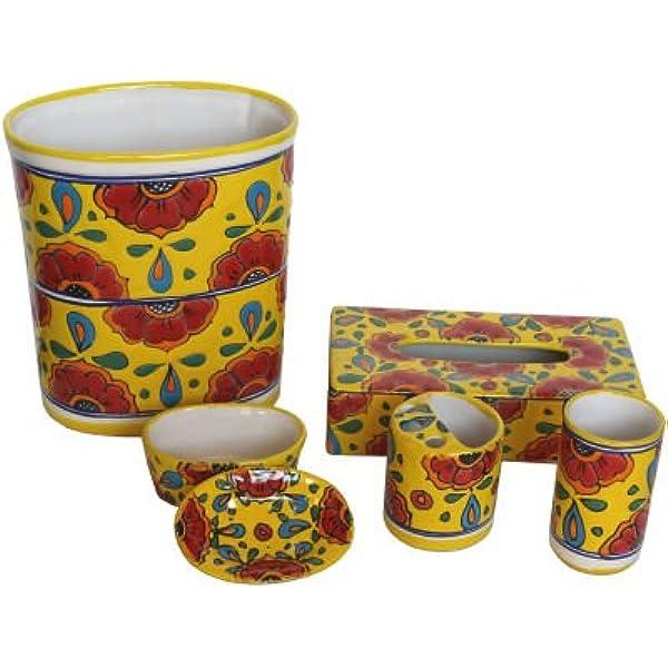 Fine Crafts Imports Canary Talavera Ceramic Bathroom Set Home Kitchen Amazon Com
