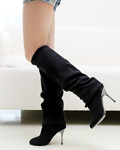 Zapatos Biker Color Estiramiento Negro Alto Botas Minetom Sólido Largas Rodilla Mujer Otoño Botas Botas Tacón Invierno qqI1XP