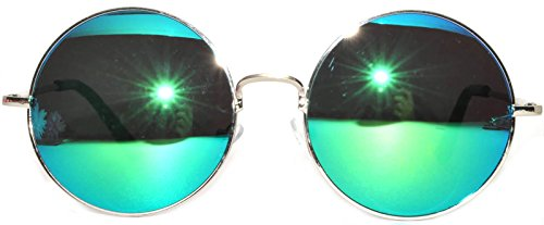Retro Round Circle Colored Vintage Tint Sunglasses Metal Frame OWL (56mm_silver_blue_green_mirror, PC - Sunglasses Circle Blue