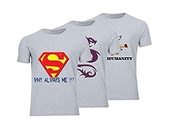 Geek ET1781 Set Of 3 T-Shirt For Men-Grey, Xlarge