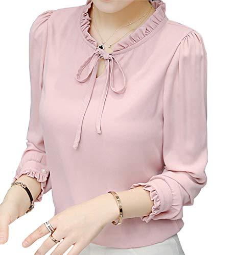 Women's Chiffon Blouse Short Sleeve Elegant Shirt Korean Fashion Tops (US XL Petite (Tag Asian 3XL), Light Pink 2)