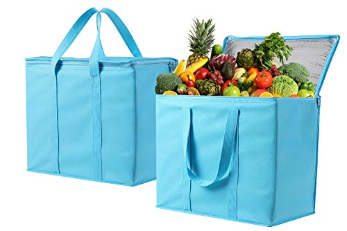 2 Pack Insulated Reusable Grocery Bag by VENO, Durable, Heavy Duty, Extra Large Size, Stands Upright, Collapsible, Sturdy Zipper, Made by Recycled Material, Eco-Friendly (Cyan, 2) (Best Insulation For Homemade Cooler)