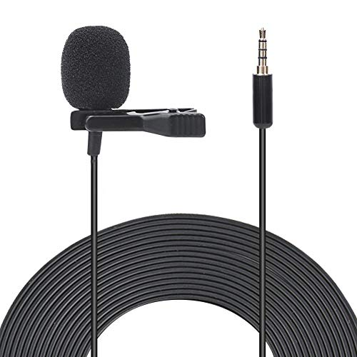 fosa 1.5 m Lavalier Microphone, omnidirectional Portable Clip-on Recording Microphone Lapel Mic with Clear Sound, Little Noise Perfect for Interview, Video Conference, Podcast