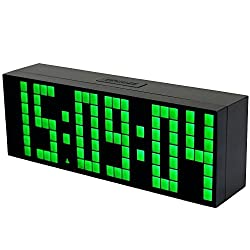 BestOpps Digital Large Big Jumbo LED Snooze Wall Desk Alarm Clock with Thermometer Calendar Indoor Clock (Green)