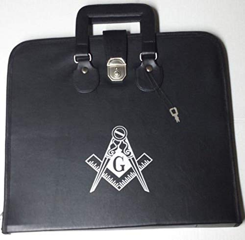 Zest4Canada Masonic Regalia Smart File Case for MM/WM Apron with Soft Handle in Black with G