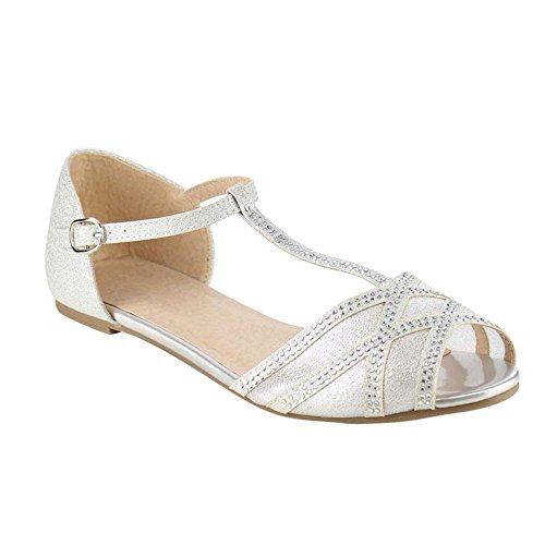 Beston GB81 Womens T-Strap Peep Toe Slip On Flat Sandal Silver