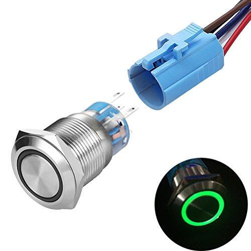 Quentacy Momentary Push Button Switch 1NO1NC Waterproof Silver Stainless Steel Shell 12V LED Ring Switch with Wire Socket Plug Suitable for 19mm 3/4 Mounting Hole ()