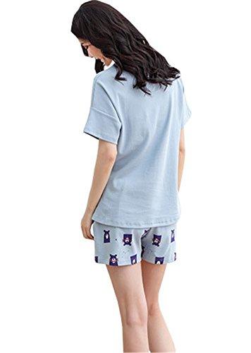 due Adorabile da Cotone Blu Pigiama T Estive Maniche Camicie Sportive Maglia Sexy Corte Donna Shirt Pigiami notte Rosa Pantaloncini Pigiami DaBag Comodo pezzi BAzOqnTB5