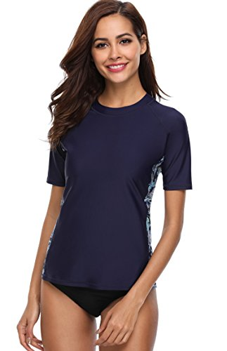 ATTRACO Rashguard Swimwear UPF 50+ Ladies Sun Protection Shirt UPF 50+ Navy Large