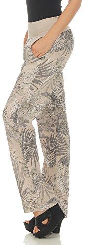 Bloomers 7790 di Giungla Beige Pantaloni delle Donna Chino malito Stampa Lino TqgPHH
