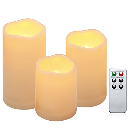 Flameless Candles, Outdoor Indoor Waterproof Battery Candles Set of 3(H 4″ 5″ 6″ x D 3″)With Remote Timer by Comenzar (Ivory yellow)(Batteries not included)