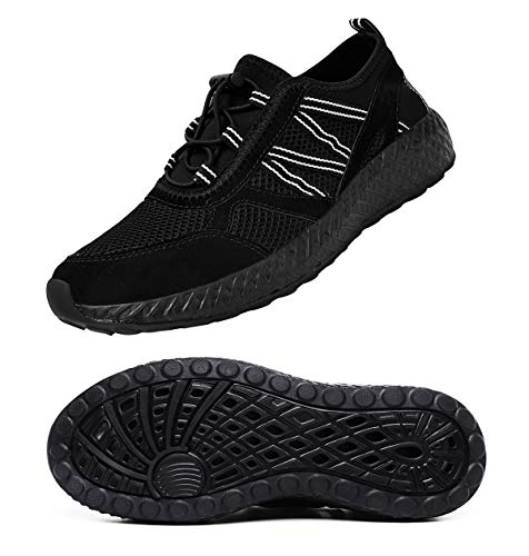 MOHEM Mens Womens Casual Mesh Water Shoes Quick Dry Hiking Shoes Slip On Running Sneakers(WS198002All-Black45)