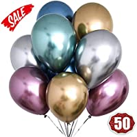 Balloome Metallic Balloons Chrome Shiny Latex 12 Inch Thicken Balloons 50 Pack for Wedding Party Baby Shower Christmas Birthday Carnival Party Decoration Supplies