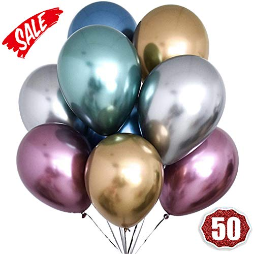 HoveBeaty Metallic Balloons Chrome Shiny Latex 12 Inch Thicken Balloons 50 Pack for Wedding Party Baby Shower Christmas Birthday Carnival Party Decoration Supplies