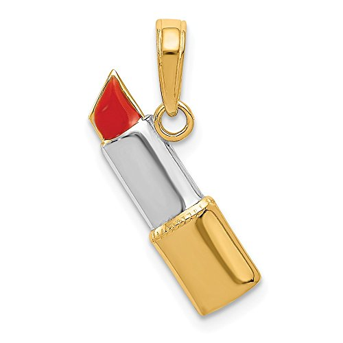 14k Yellow Gold Enameled Lipstick Pendant Charm Necklace Fine Jewelry Gifts For Women For Her