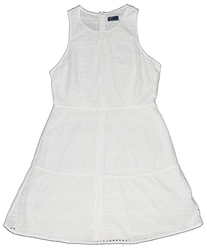 GAP Womens White Eyelet Fit & Flare Lined Sun Dress 12