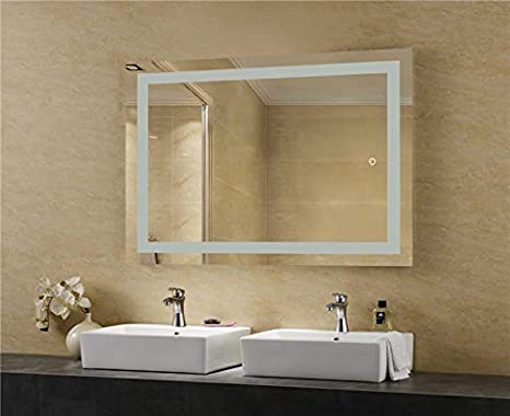 LEDMyplace LED Bathroom Lighted Mirror 24x36 Inch Alumimum Structure ETL Listed Touch Switch Controls LED Light with On//Off and CCT Remembrance Lighted Vanity Mirror Includes Defogger