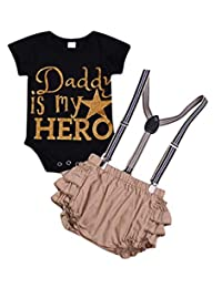 SUPEYA Baby Girls Letters Print Bodysuit Romper with Strap Ruffle Shorts Outfits Set
