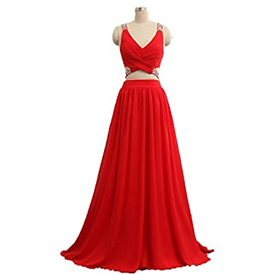 Icy Sun Women's Two Pieces V Neck Homecoming Prom Dresses Long Bridesmaid Gowns ICYLF067