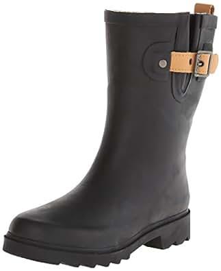 Chooka Women's Mid-Height Rain Boot, Black/Matte, 5 M US