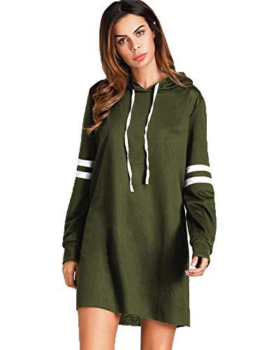 doublebabyjoy Women's Striped Sleeve Hoodie Dress Teen Girl Solid Color Long Sleeve Hooded Sweatshirt Pullover Short Dress (Navy Green, L) by doublebabyjoy