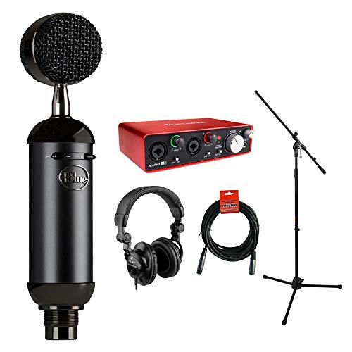 (Blue Blackout Spark SL XLR Condenser Microphone with Focusrite Scarlett 2i2 USB Audio Interface, HPC-A30 Monitor Headphone, Mic Stand & 20' XLR Cable Bundle)