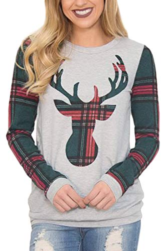 (Christmas Womens Cotton Plaid Reindeer Long Sleeve Color Blocked Xmas Crewneck Sweatshirt Green 2XL)