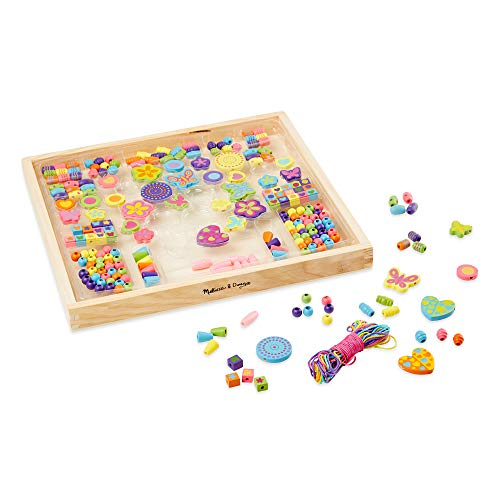Melissa & Doug Bead Bouquet Deluxe Wooden Bead Set (Arts & Crafts, Handy Wooden Tray, 220 Beads and 8 Cords, Great Gift for Girls and Boys - Best for 4, 5, 6, 7 and 8 Year Olds)