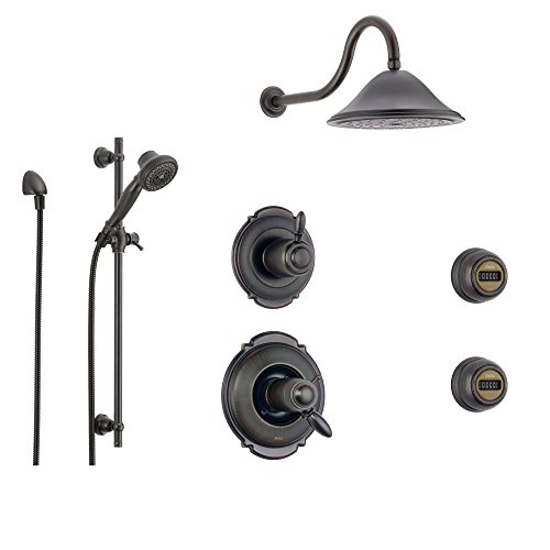 Delta Victorian Venetian Bronze Shower System with Thermostatic Shower Handle, 6-setting Diverter, Large Rain Showerhead, Handheld Shower, and 2 Body Sprays SS17T5592RB Delta Faucets