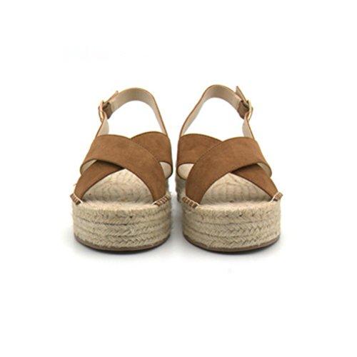 Corbata Banda Cuerda esponja Zapatos de romanas torta grueso brown trasera ocio Paja señoras fondo Sandalias de la de Sandalias de de planas las de QPYC cáñamo qxTPZnX