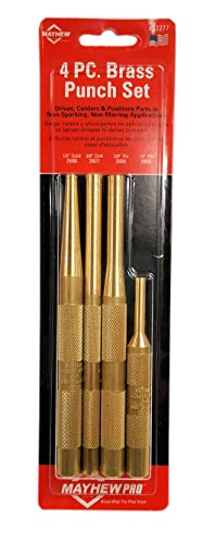Solid Punch - Mayhew Pro 62277 Brass Punch Kit, 4-Piece