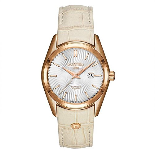 Roamer of Switzerland Women's Searock 34mm Leather Band Rose Gold Plated Case Quartz Watch 203844 49 05 02