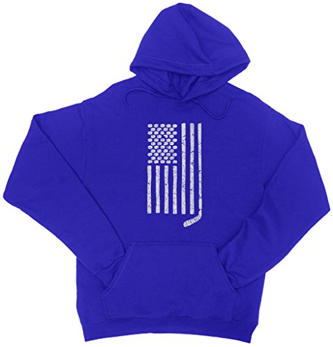 (Mixtbrand Hockey Pucks and Stick American Flag Adult Hoodie Sweatshirt L Royal)