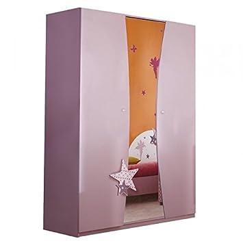 Kleiderschrank Sternchen 2 Lila Weiß 3 Türen Schrank Drehtürenschrank Kinderzimmer  Jugendzimmer Mädchenschrank Kinderzimmerschrank MDF