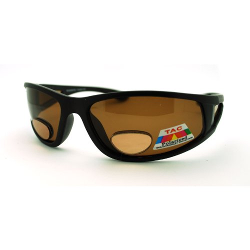 Mens Wrap Around Sport Sunglasses Polarized & Bifocal Reading Lens Black Brown Lens (black, 1.5)