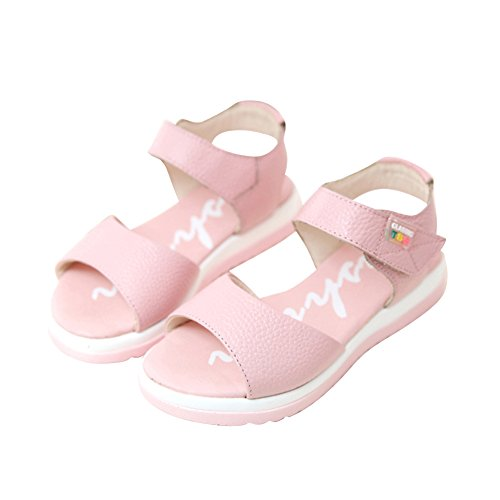 Sumuo Cute Fashion Little Big Summer Leather Sandals for Girls Pink 38 6 M US Big Kid (Girls Pink Sandals Youth)
