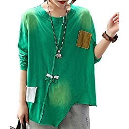 Women's Casual Loose Long/Short Sleeve TEE Sweatshirts Knots Decorated Asymmetric Hem Tops/Pockets