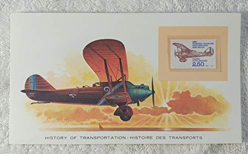 First Non-stop Atlantic Crossing from Paris to New York - Postage Stamp (France, 1980) & Art Panel - The History of Transportation - Franklin Mint (Limited Edition, 1986) - Airplane, Aviation