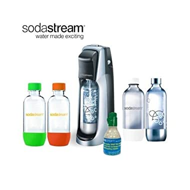 SodaStream Fountain Jet Soda Maker with 4 Bottles & Mini CO2 (Black)