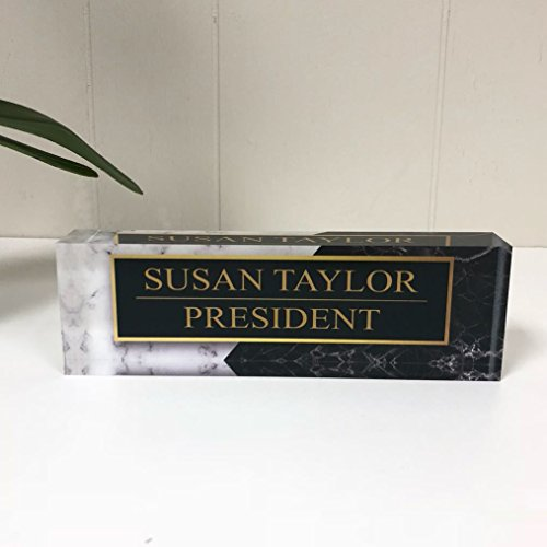 Desk Name Plate Personalized Name & Title, Black & White Marble Printed on Premium Clear Acrylic Glass Block Custom Office Decor Desk Nameplate Unique Customized Desk Accessories Appreciation Gift by Artblox