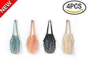 JM-capricorns 4 Pack - Portable/Reusable/Washable Cotton Mesh String Organic Organizer Shopping Handbag Long Handle Net Tote (Grey Blue/Black/Beige/Pink)