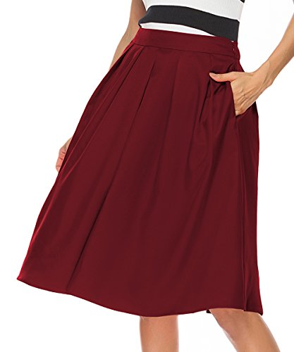 REGAI Women's High Waist Flared Skirt Pleated Midi Skirt with Pocket