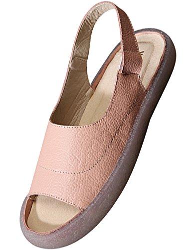 Youlee Femmes Été Chaussures Plates Cuir Sandales Romaines Style 1 Rose PK1CgQ