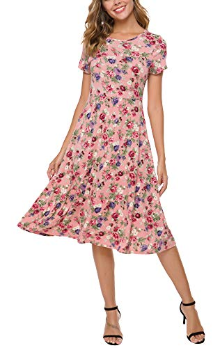Urban CoCo Women's Floral Print Short Sleeve Flared Midi Dress (M, 12)