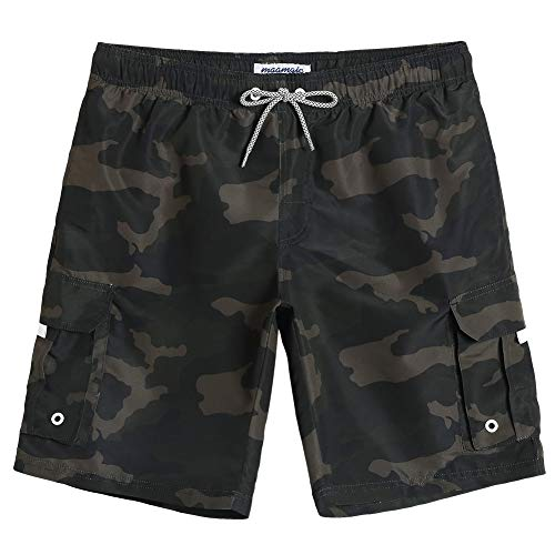 MaaMgic Mens Quick Dry Camo Cargo Short Relaxed Fit Swim Trunks with Mesh Lining Surfing Printed Swimwear ()