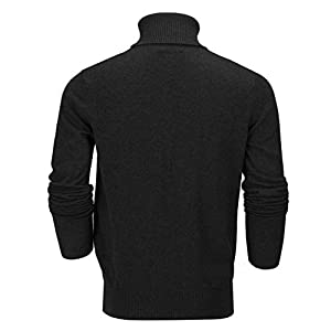 Xposed Mens Roll Neck Jumper Soft Cotton Fine Knitted High Turtle Polo Pullover Top[JUMPER-G1808,3XL,Black]