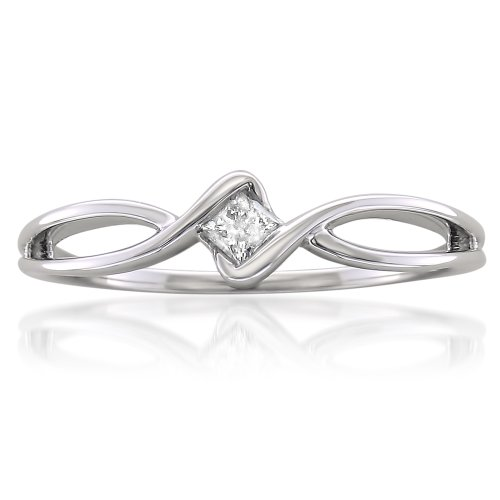 La4ve Diamonds 10k White Gold Princess-cut Diamond Promise Ring (1/10 cttw, I-J, I1-I2)