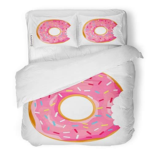(Tarolo Bedding Duvet Cover Set Pink Doughnut Donut Mouth Bite in Flat Cartoon Chocolate Circle Black 3 Piece Queen 90